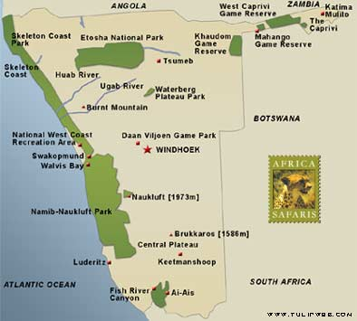 map of namibia africa. Map of Namibia: